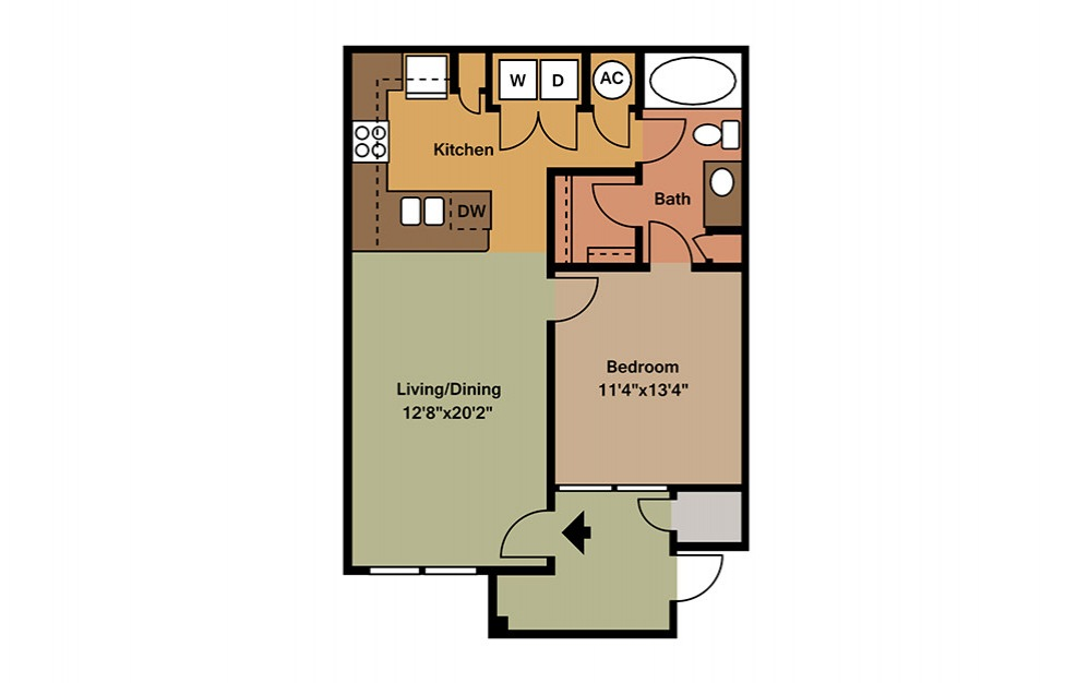 A1 - 1 bedroom floorplan layout with 1 bath and 701 square feet. (2D)