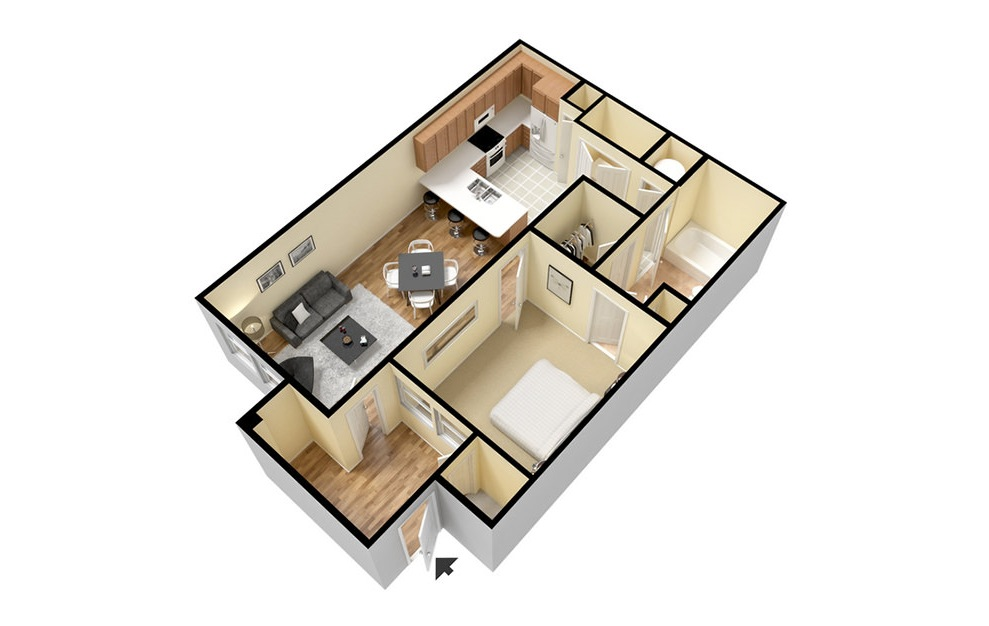 A1 - 1 bedroom floorplan layout with 1 bath and 701 square feet. (3D)