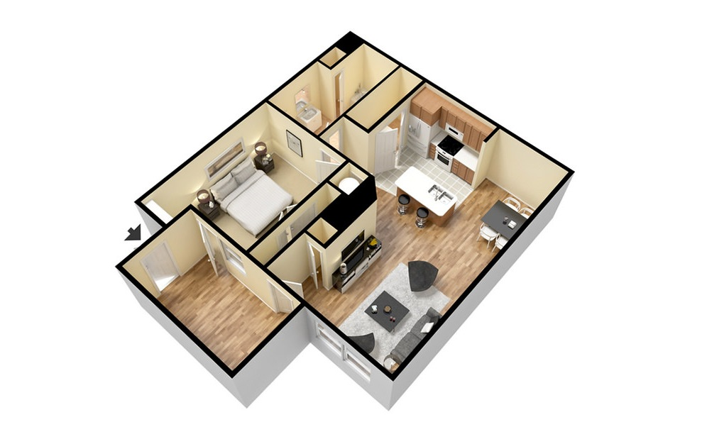 A2 - 1 bedroom floorplan layout with 1 bath and 783 square feet. (3D)