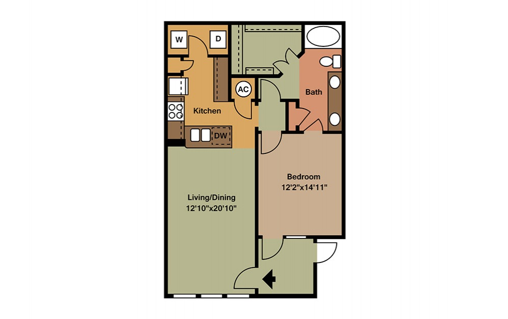 A3 - 1 bedroom floorplan layout with 1 bath and 853 square feet. (2D)