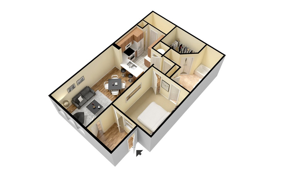 A3 - 1 bedroom floorplan layout with 1 bath and 853 square feet. (3D)