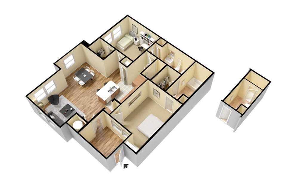 B1 - 2 bedroom floorplan layout with 2 baths and 1053 square feet. (3D)