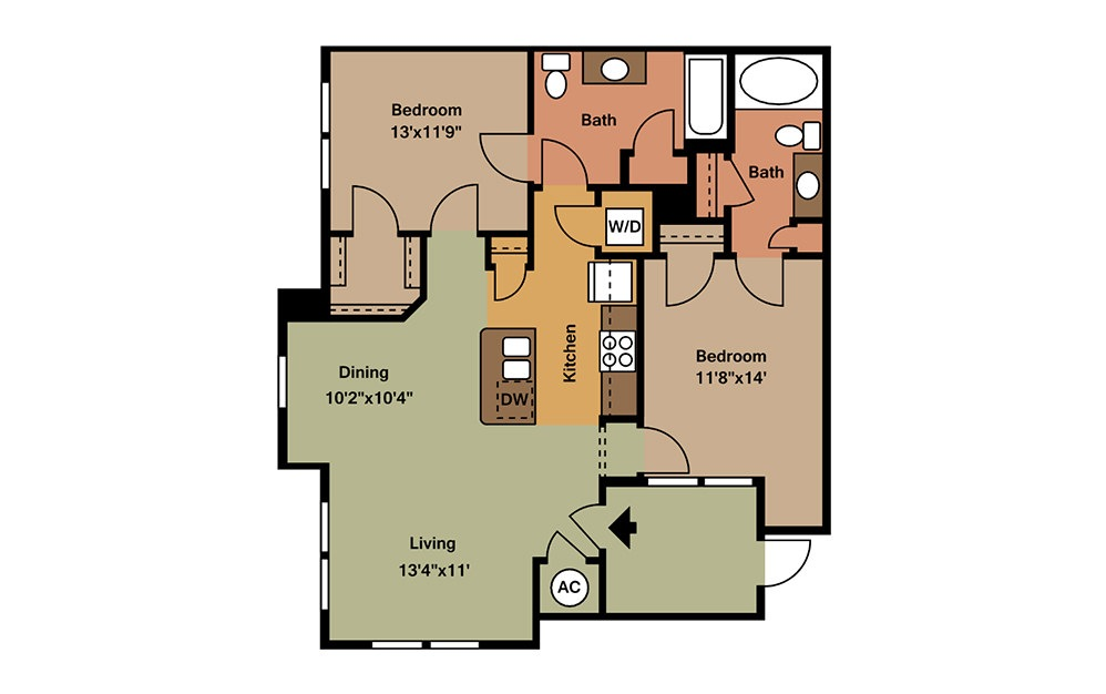 B1HC - 2 bedroom floorplan layout with 2 baths and 1081 square feet. (2D)