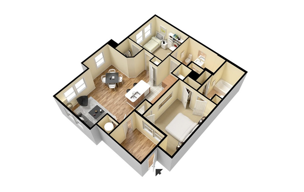B1HC - 2 bedroom floorplan layout with 2 baths and 1081 square feet. (3D)