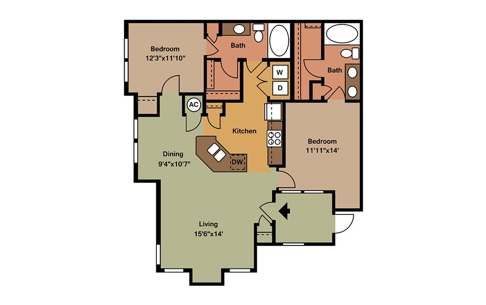 B2 - 2 bedroom floorplan layout with 2 baths and 1211 square feet. (2D)
