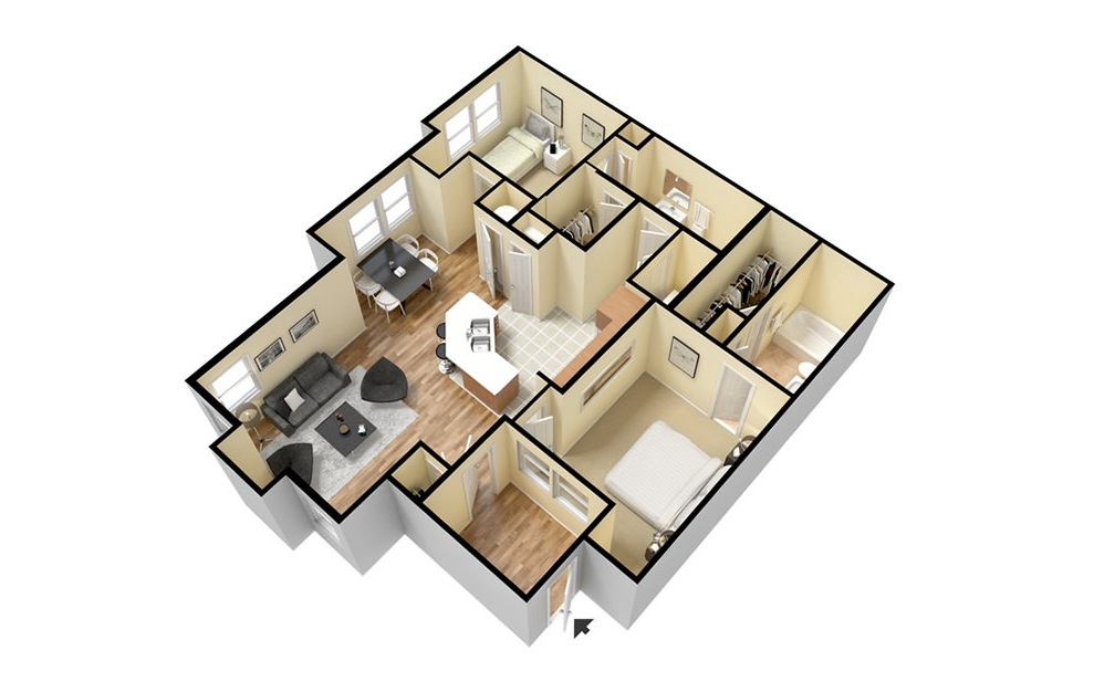B2 - 2 bedroom floorplan layout with 2 baths and 1211 square feet. (3D)