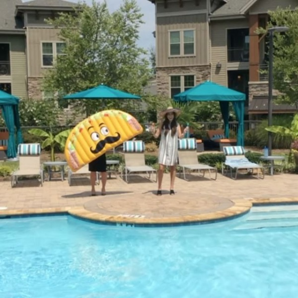 Getting ready for our annual resident pool party this Saturday the 22nd!! Taco food truck, margaritas, live DJ, giveaways and more!! 3:00 - 6:00pm #fiesta #poolparty #tacofloatie #margaritas #saturday
