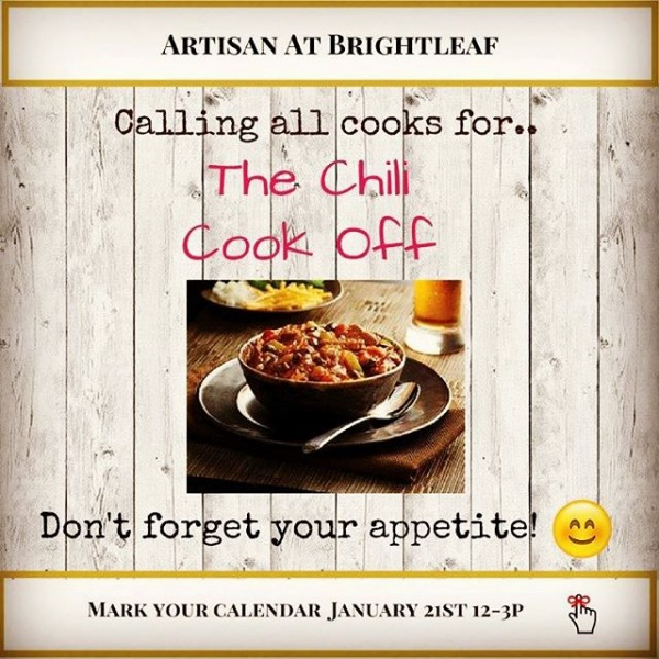 Good afternoon residents!  Don't forget to mark your calendars for our annual Chili Cook Off!  We can't wait to try your delicious recipes!  See you January 21st 12pm - 3pm in our leasing office!  Team Artisan at Brightleaf #chilicookoff2018 #artisanatbrightleaf #rduliving #Durham #perforourresidents #wondeefulplacetolive #callingallcooks #funathome