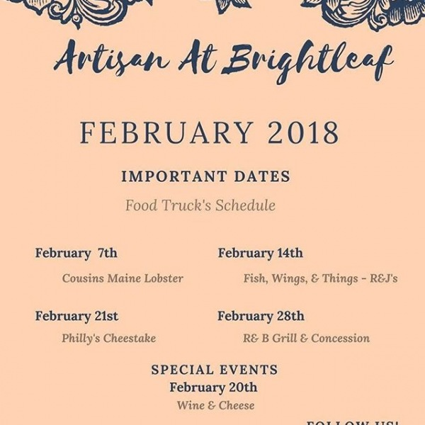 Happy Monday Everyone! Check out our February Community Calendar Event! Have a great week everyone! #artisanatbrightleaf #greystarrocks