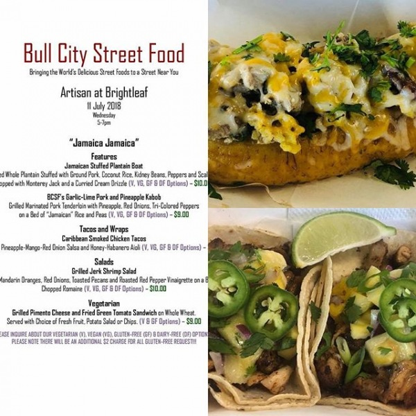 Hi everyone,  Due to unforeseen circumstances we will not have The Potato Wagon visiting our property.  Save room for dinner!  Bull City Street Food Truck will be here from 5pm-7pm.  Check out their menu:  #stuffedplaintainboat #PorkPineappleKabob #Salads #Vegeterian #PimentoCheeseSandwich #greystarrocks #lovewhereyoulive #BrithtleafPark #ArtisanatBrightleaf #VeganOptions #GlutenFreeOptions #FusionFoodisTheBest #HumpDay #Tacos #BullCityStFood  Warm regards,  Team Artisan at Brightleaf